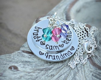 Grandma Necklace Mother Necklace Nana Necklace Christmas Gift Necklace Grandkids Necklace Mom necklace with kids names on it Christmas Gift
