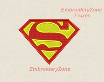 Logo Superman. Super hero. Embroidery design filled.No APPLIQUE 7 sizes. INSTANT DOWNLOAD
