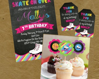Skating Party Birthday Party PACKAGE Invite, Thank You Tags and Cupcake Toppers - Skate