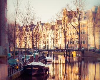 "Amsterdam Print - Canals - Fine Art Photography - Scandinavian Wall Decor - Amsterdam Art - Red Light District - Cathedral - ""Reflections"""