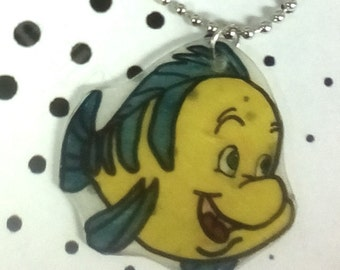 The Little Mermaid Flounder Hand Drawn Necklace