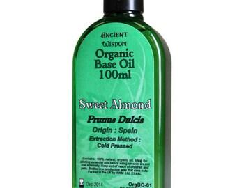 100ml Organic Base Oil - 100% Pure - SWEET ALMOND Base Oil