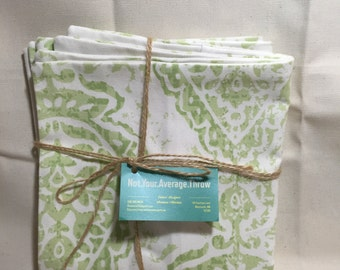 Pillow COVERs- Decorative Throw Pillow COVERS Lime Green and White Floral Pattern
