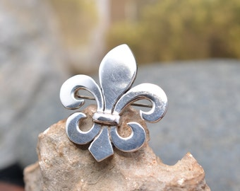 Heavy Sterling Silver Fleur de Li Brooch Pin with Optional Pendant