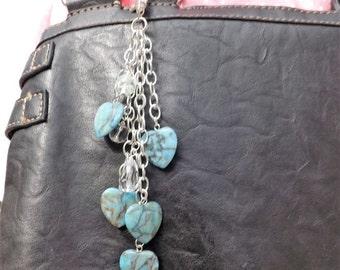 Turquoise bag charms, heart bag charms, purse charms, heart purse charms, bag dangles,