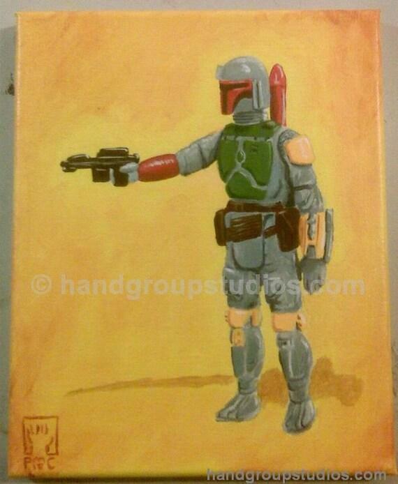 "Star Wars Boba Fett Toy Figure Painting ""Repo Man"" Original Artwork by Pete Coe"