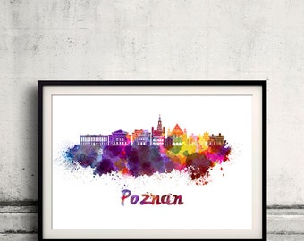 Poznan skyline in watercolor over white background with name of city - SKU 1778