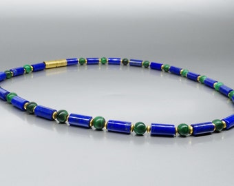 Lapis Lazuli and Malachite Necklace gold parts -natural genuine Lapis Lazuli-blue green and gold necklace-Statement necklace-gift Christmas
