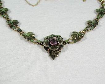 12K Vermeil over Sterling Flower and Leaves Choker Necklace - Vintage 50s Raleigh