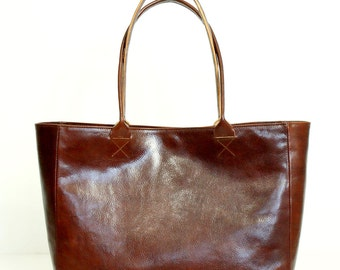 Cognac Brown Leather Tote Bag - BELLA Posh Handmade Brown Leather Tote Bag
