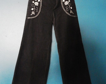 Vintage High-Waisted Embroidered Corduroy Pants | Size Extra Small