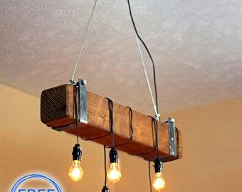 Beam light.Lighting.Edison bulb.ceiling lighting.Light fixture.Industrial Lighting.Restaurant Lighting.barn beam light (Rustic Chandelier)