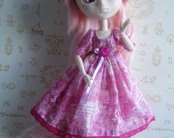 Outfit «Comtesse de Segur» fuchsia pink dress and panties, for Doll Pullip ou similar size