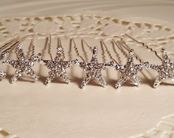 Sparkly Starfish Bridal Hair Pins/ Set of 3 / Set of 6