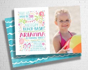 Beach Birthday invitation | Beach Bash Invite | Pool Party Invitation | Summer Birthday Invite | Photo Invitation | DIGITAL FILE ONLY
