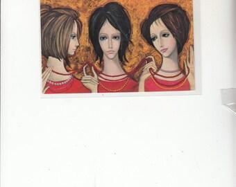 "1964 Vintage Keane Postcard Big Eyed Young Women ""The Longest Strand, Unused"