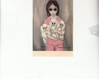 "1964 Vintage Keane Postcard, Big Eyed Girl Holds Poodles ""Bedtime"",Unused"