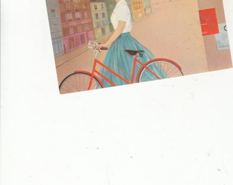 Poster Style Postcard TWA,1958 Classic French Young Woman W Bike Eiffel Tower Paris,