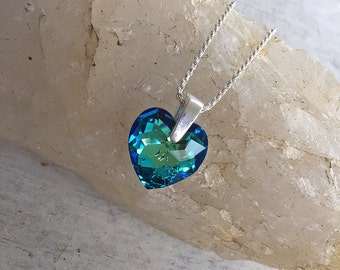 My Heart Is An Ocean Necklace, Blue Heart Necklace, Blue Pendant Necklace, Blue Crystal Necklace, Sterling Silver Necklace, Valentine's Gift