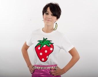 Ladies Tshirt, Strawberry Tshirt in white, Applique, Cotton, Gift, Summer strawberry - ladies size 10