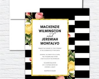 Mackenzie, Vintage Floral Striped, Customizable Wedding Invitation Set
