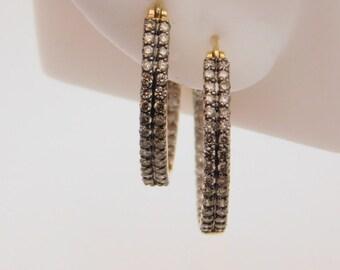 1.00 Carat T.W. Round Cut Yellow Diamond Hoop Earrings 14K Yellow Gold