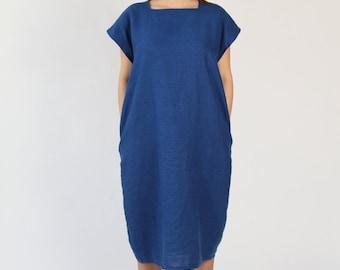 Linen Dress with Square Neckline - Royal Blue