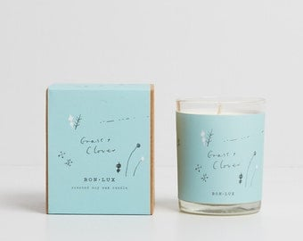 soy wax candle 'grass+clover' - glass votive + illustrated gift box, great gift, mowed grass, tomato leaf + wisteria by BON LUX