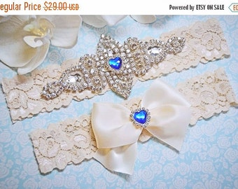 Wedding Garter, Crystal Bridal Garter Set, Ivory Stretch Lace Garter, Bridal Garter, Garter with Blue Heart Rhinestone- Amanda Style-54321