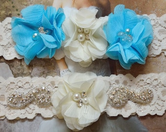 Blue Wedding Garter, Rhinestone Crystal Bridal Garter, Ivory Lace Garter, Malibu Blue Flower Garter, Something Blue,