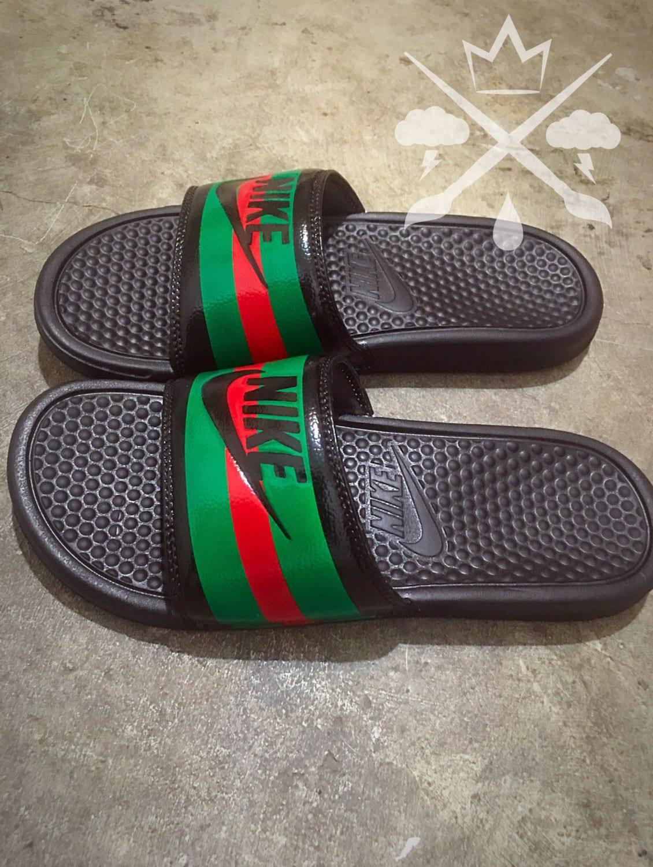 Nike Custom Gucci Red Green Pursuit 72 Benassi Swoosh Slides