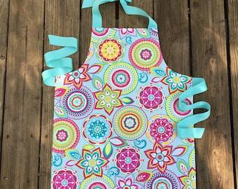 Kids Art Apron - Floral Tween Apron - Childrens Aprons - Floral Girls Apron - Aqua Tween Apron - Gift for tweens - tween birthday gift