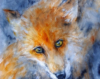 Fox Painting Original Watercolor Painting Animal Portrait Fox Artwork  9x9.5