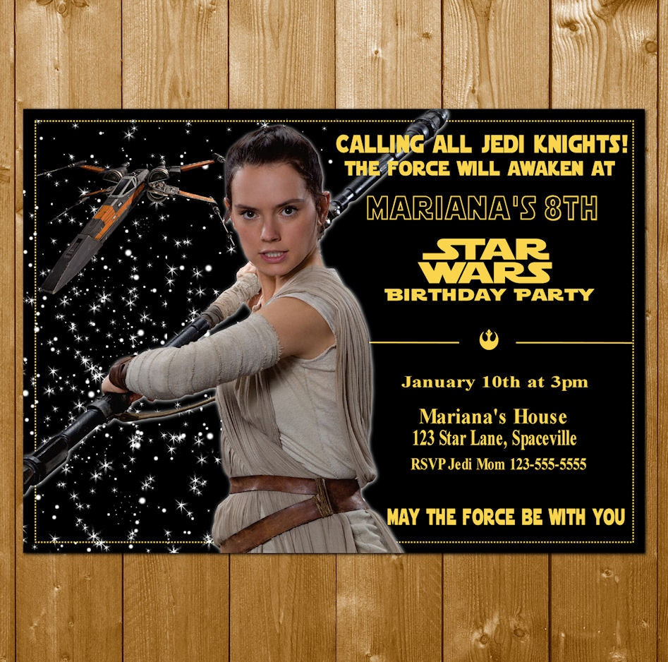 Rey Invitation Star Wars The Force Awakens Party Invitations Free Thank You Note