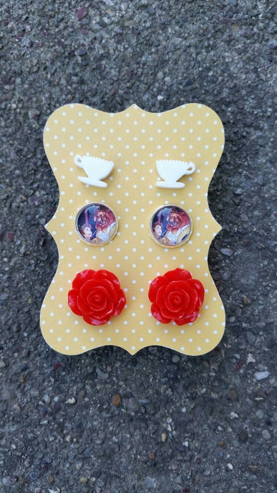 Beauty And The Beast Earrings Set Tea Cup Rose