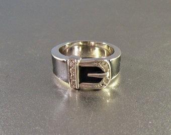 Enamel Diamond Buckle Ring, Rhodium Silver, Size 7