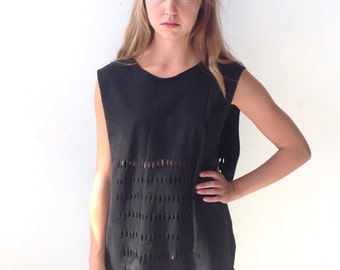 Slouchy Black Tank with Cut-Out Detailing