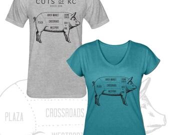 Cuts of KC Butcher Shop Style T Shirt - Multiple Colors Available Kansas City Shirt