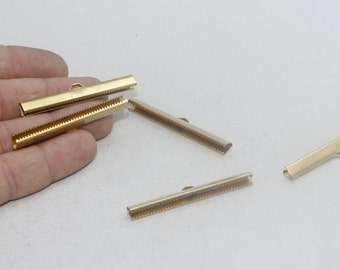 50mm Raw Brass Ribbon Crimp , Cord End, Fastaners Clasp, srs , SOM188