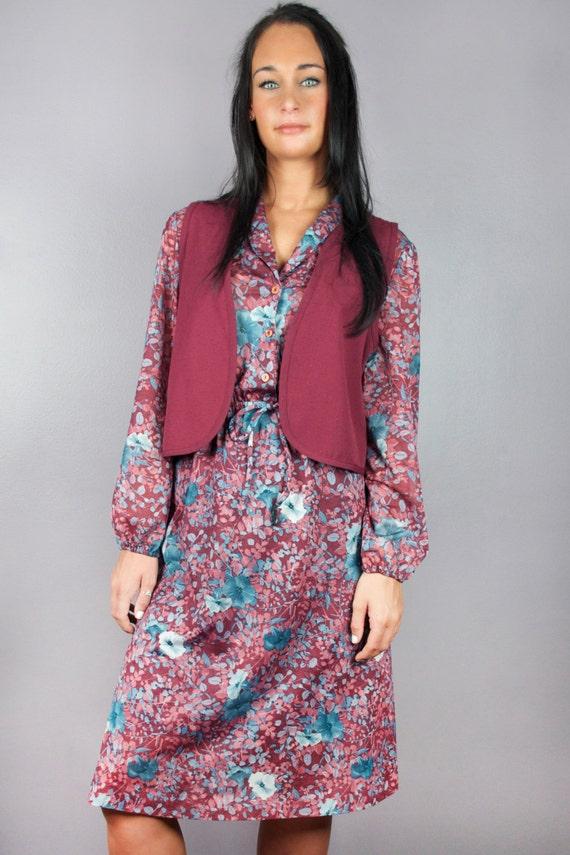 Flower Child Hippie Vintage 60s 70s Floral Print Long Sleeve Button Down Shirt Dress Vest