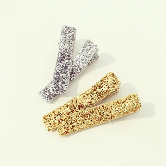 Glitter Hair Clips   Silver + Gold Glitter Hair Clips for Baby Toddlers Girls, Sparkle Glitter Hair Clips, Cute Clips for Bangs, Metallic