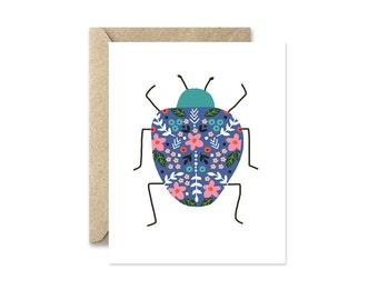 Insect Note Cards, Royal Blue Beetle, Blank Greeting Card with Flowers