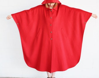Vintage 1970's RED WOOL Full Length Batwing Hooded Cape Austrian Horn Buttons