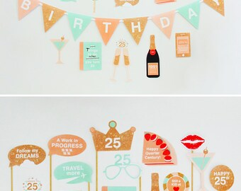 25th Birthday Party Decorations, 25th Photo Booth Props, 1991 -  25th Party Printable, Birthday Wishes, Peach, Mint   INSTANT DOWNLOAD
