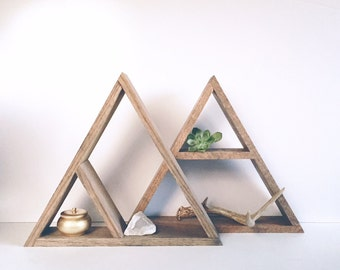 Hand Stained Triangle Wood Shelf, Home Decor Storage, Oak Wood Shelves, Modern Shelving, Minimal Design Shelves, Geometric Shelf