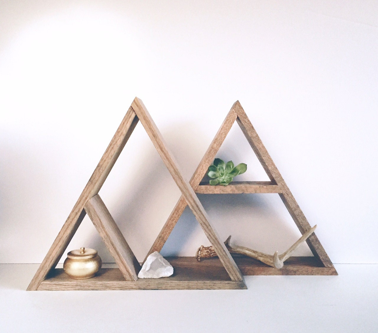 Hand Stained Triangle Wood Shelf Home Decor Storage Oak Wood