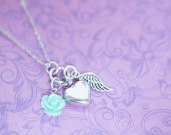 Memorial Pendant with Angel Wing - Cremation Jewelry - Hand Stamped Jewelry - Urn Necklace - Pet Memorial - Ash Necklace