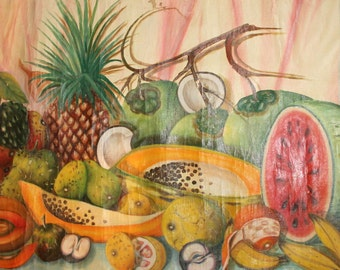 1974 Still Life With Fruits Oil Painting