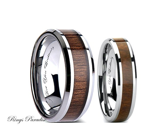 tungsten wedding band set wood inlay tungsten rings his and