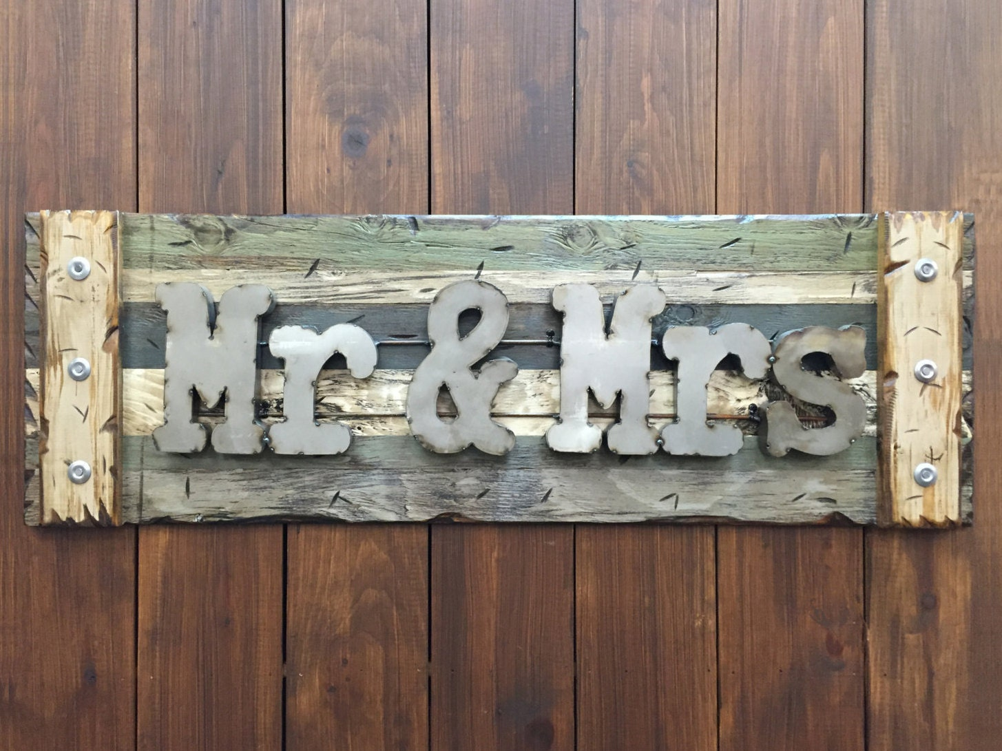 Navy Blue Metal Wall Art: MR & MRS Rustic Sign Reclaimed Shutter By WoodenHeartsInc